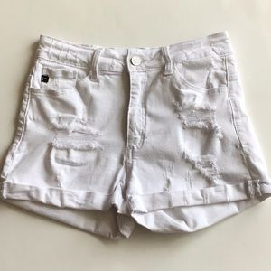White KanCan Distressed Jean Shorts
